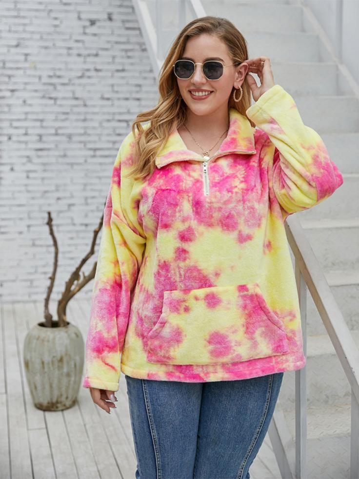 shestar wholesale plus size half zipper tie dye teddy-sweatshirt