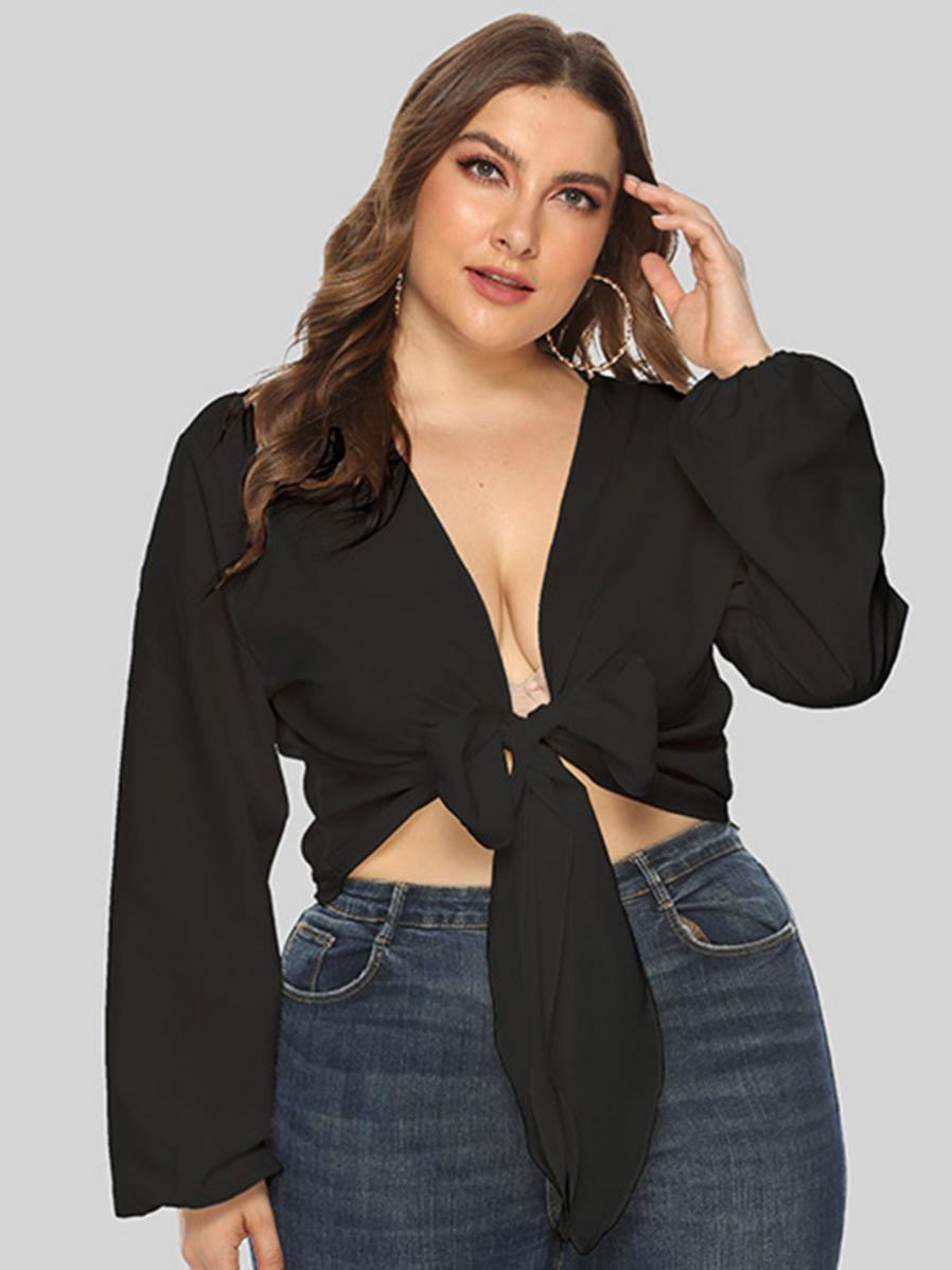 shestar wholesale plus size sexy bow decor v-back long sleeve top