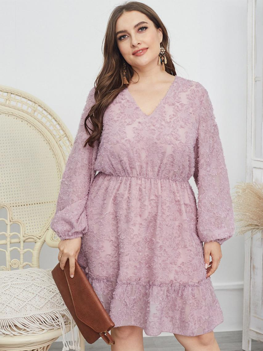 shestar wholesale plus size tight waist lace scalloped dress
