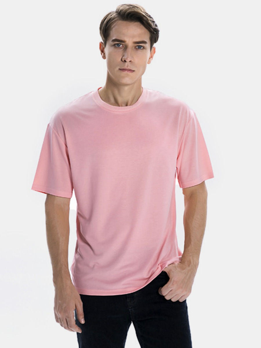 Solid Color Short Sleeve Round Collar T-shirt