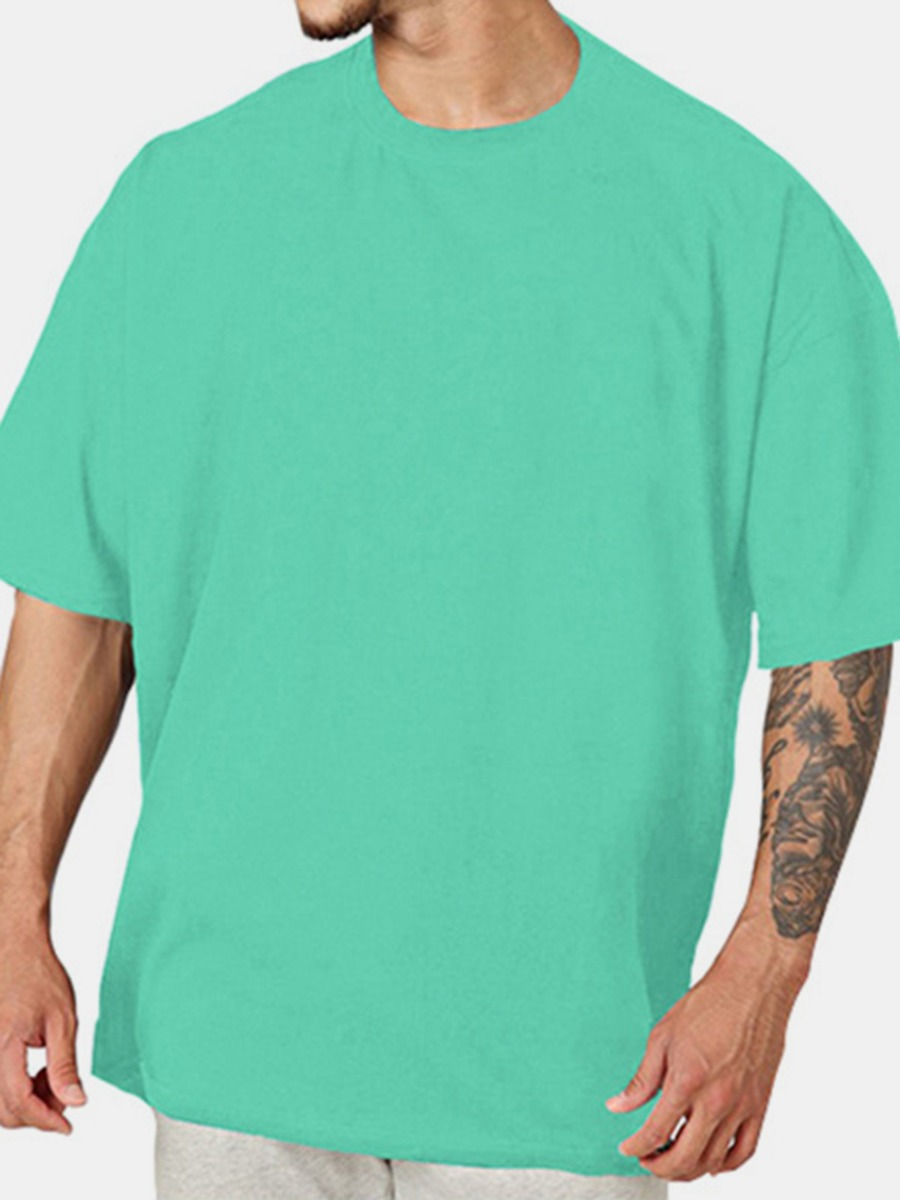 Solid Color Crew Neck Basic T-shirt