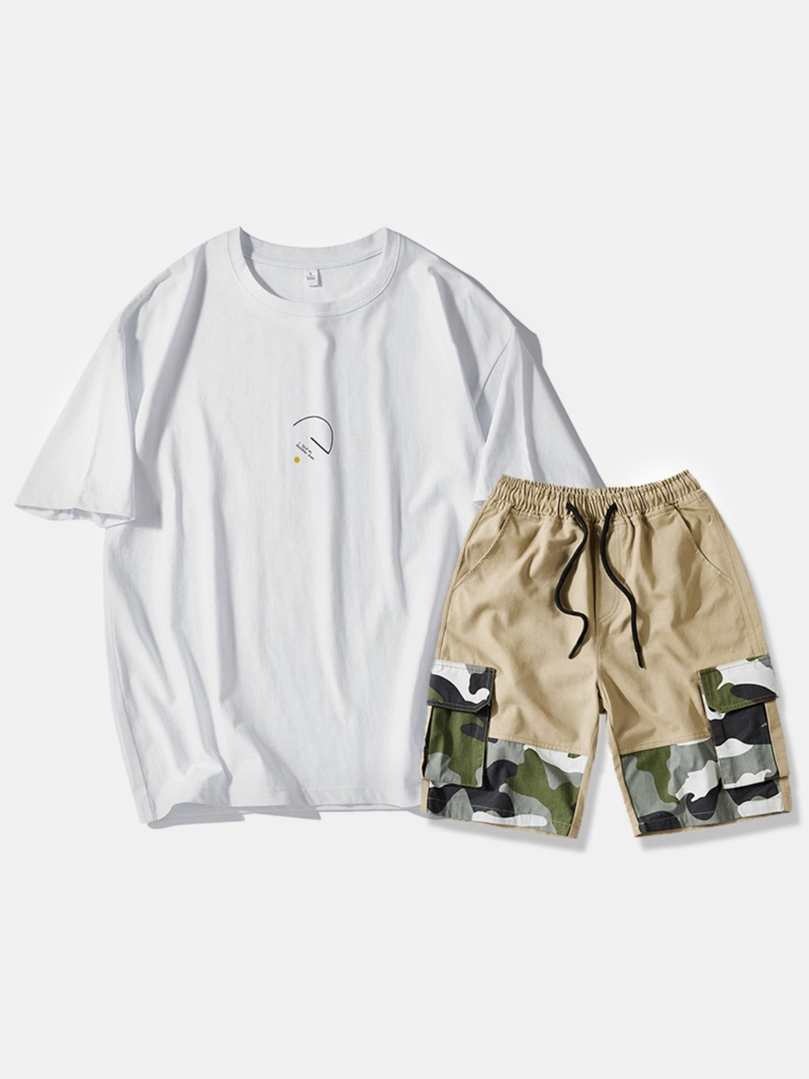 2 Pieces Letter Tee And Camo Patch Drawcord Shorts Set