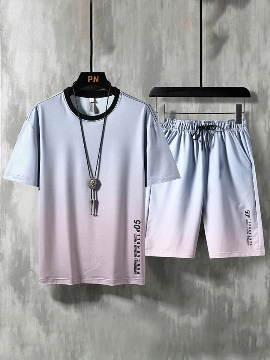 2 Pieces Gradient Color Letter Print Tee And Shorts Sport Set